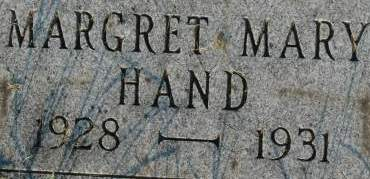 HAND, MARGARET MARY - Clinton County, Iowa | MARGARET MARY HAND