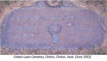 HARTMANN, ANNA M. - Clinton County, Iowa   ANNA M. HARTMANN