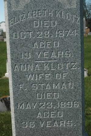 KLOTZ, ELIZABETH - Clinton County, Iowa   ELIZABETH KLOTZ
