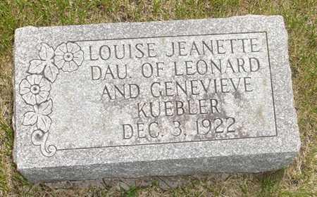 KUEBLER, LOUISE JEANETTE - Clinton County, Iowa   LOUISE JEANETTE KUEBLER
