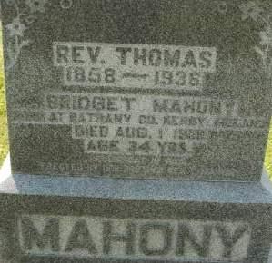 MAHONY, THOMAS REV. - Clinton County, Iowa | THOMAS REV. MAHONY