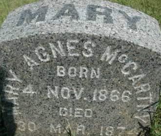 MCCARTHY, MARY AGNES - Clinton County, Iowa | MARY AGNES MCCARTHY