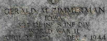 ZIMMERMAN, GERALD M. - Clinton County, Iowa | GERALD M. ZIMMERMAN