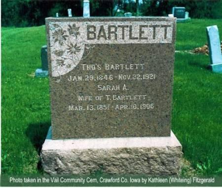 BARTLETT, THOMAS & SARAH A. - Crawford County, Iowa | THOMAS & SARAH A. BARTLETT