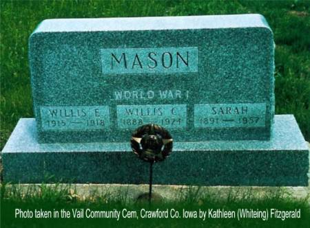 MASON, WILLIS E., WILLIS C. & SARAH (MAGILL) - Crawford County, Iowa | WILLIS E., WILLIS C. & SARAH (MAGILL) MASON