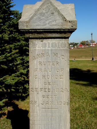 RUTER ROHDE, ANNA M. C. - Crawford County, Iowa | ANNA M. C. RUTER ROHDE