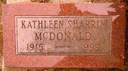 SHARRIN MCDONALD, KATHLEEN - Dallas County, Iowa   KATHLEEN SHARRIN MCDONALD