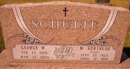 SCHULTE, GEORGE W. - Dallas County, Iowa   GEORGE W. SCHULTE