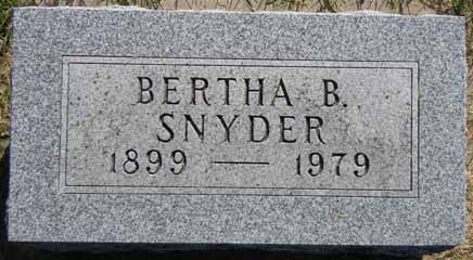 SNYDER, BERTHA B - Dallas County, Iowa   BERTHA B SNYDER
