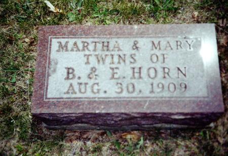 HORN, MARTHA AND MARY - Davis County, Iowa   MARTHA AND MARY HORN