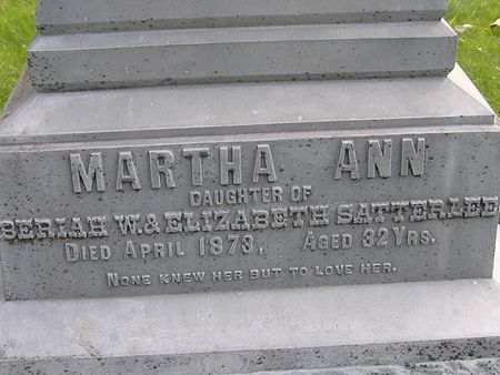 SATTERLEE, MARTHA ANN - Delaware County, Iowa | MARTHA ANN SATTERLEE