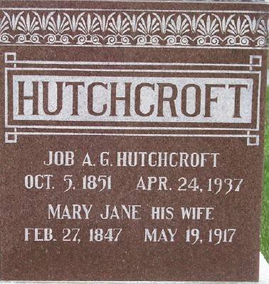 ANDREW HUTCHCROFT, MARY JANE - Des Moines County, Iowa | MARY JANE ANDREW HUTCHCROFT