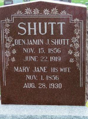 CARTER SHUTT, MARY JANE - Des Moines County, Iowa   MARY JANE CARTER SHUTT