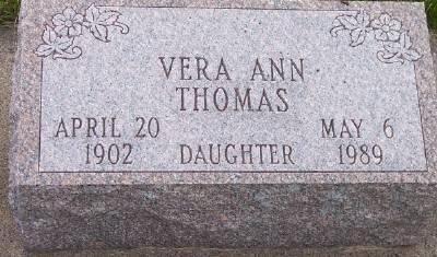 THOMAS, VERA ANN - Des Moines County, Iowa   VERA ANN THOMAS