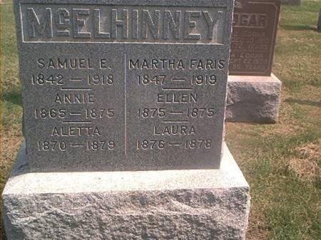 MCELHINNEY, SAMUEL,ANNIE, ALETTA, ELLEN, LAURA & MARTHA FARIS - Des Moines County, Iowa | SAMUEL,ANNIE, ALETTA, ELLEN, LAURA & MARTHA FARIS MCELHINNEY