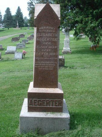 AEGERTER, ELISABETH - Dubuque County, Iowa   ELISABETH AEGERTER