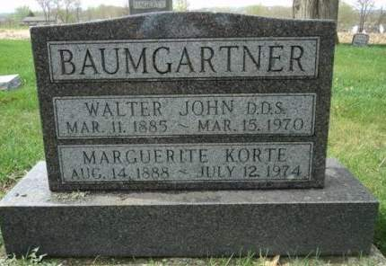 KORTE BAUMGARTNER, MARGUERITE - Dubuque County, Iowa | MARGUERITE KORTE BAUMGARTNER