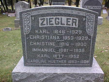 ZIEGLER, KARL, CHRISTIANA, CHRISTINE, IMMANUEL, KARL, AND CAROLINE HU - Dubuque County, Iowa   KARL, CHRISTIANA, CHRISTINE, IMMANUEL, KARL, AND CAROLINE HU ZIEGLER
