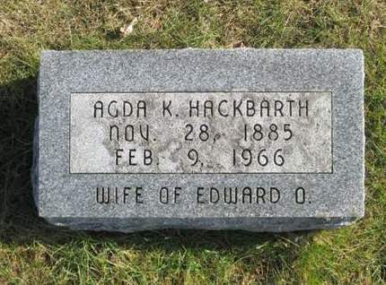 HACKBARTH, AGDA K. - Franklin County, Iowa | AGDA K. HACKBARTH