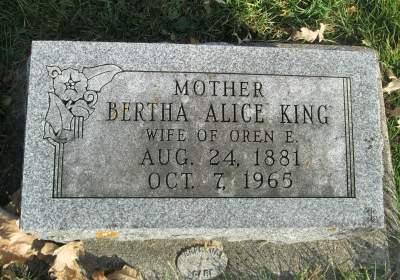 KING, BERTHA ALICE - Franklin County, Iowa   BERTHA ALICE KING