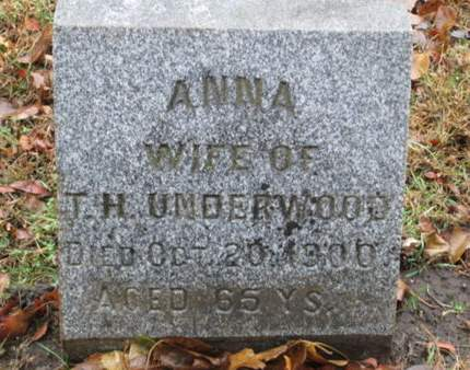 UNDERWOOD, ANNA - Franklin County, Iowa   ANNA UNDERWOOD