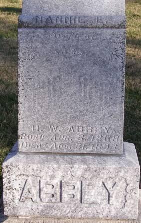 PORTER ABBEY, NANNIE E - Fremont County, Iowa   NANNIE E PORTER ABBEY