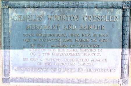 CRESSLER, CHARLES WHARTON - Greene County, Iowa   CHARLES WHARTON CRESSLER