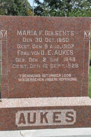 AUKES, MARIA F. (SENTS) - Grundy County, Iowa | MARIA F. (SENTS) AUKES