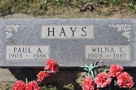 HAYS, WILNA T. - Grundy County, Iowa   WILNA T. HAYS