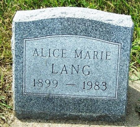 LANG, ALICE MARIE - Guthrie County, Iowa | ALICE MARIE LANG