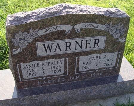 WARNER, JANICE A - Guthrie County, Iowa   JANICE A WARNER