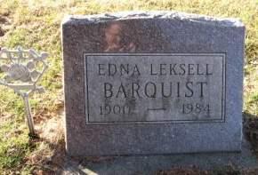 LEKSELL BARQUIST, EDNA - Hamilton County, Iowa   EDNA LEKSELL BARQUIST