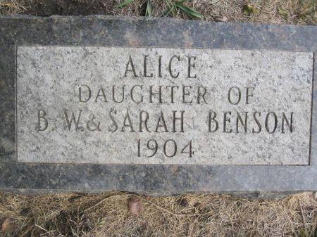 BENSON, ALICE - Hamilton County, Iowa   ALICE BENSON