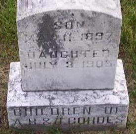 CORDES, INFANT DAUGHTER - Hamilton County, Iowa | INFANT DAUGHTER CORDES