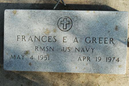 GREER, FRANCES E. A. - Hamilton County, Iowa   FRANCES E. A. GREER