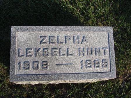 LEKSELL HUNT, ZELPHA - Hamilton County, Iowa   ZELPHA LEKSELL HUNT