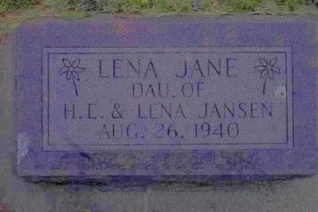 JANSEN, LENA JANE - Hamilton County, Iowa   LENA JANE JANSEN
