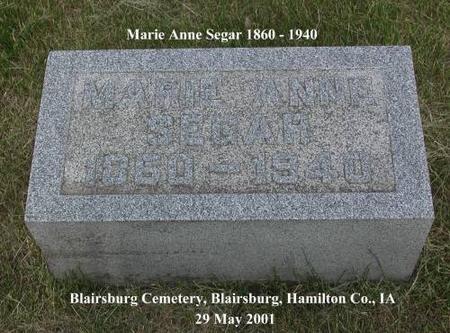 SEGAR, MARIE ANNE - Hamilton County, Iowa | MARIE ANNE SEGAR