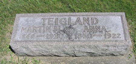 SKORPEN TEIGLAND, ANNA - Hamilton County, Iowa   ANNA SKORPEN TEIGLAND