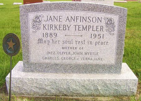 ANFINSON TEMPLER, JANE - Hamilton County, Iowa   JANE ANFINSON TEMPLER