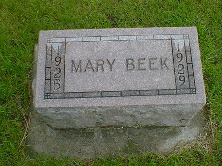 BEEK, MARY - Hancock County, Iowa | MARY BEEK
