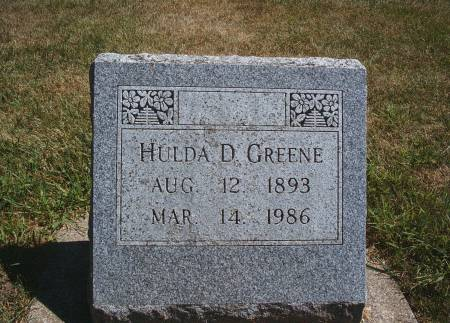 JOHNSON GREENE, HULDA D - Hancock County, Iowa | HULDA D JOHNSON GREENE
