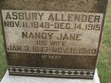 ALLENDER, NANCY JANE - Henry County, Iowa | NANCY JANE ALLENDER