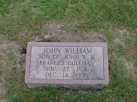 COLEMAN, JOHN WILLIAM - Henry County, Iowa | JOHN WILLIAM COLEMAN