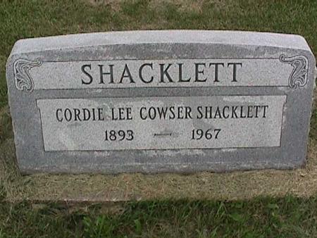 COWSER SHACKLETT, CORDIE LEE - Henry County, Iowa | CORDIE LEE COWSER SHACKLETT