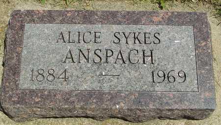 SYKES ANSPACH, ALICE - Ida County, Iowa | ALICE SYKES ANSPACH