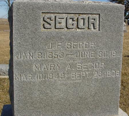 SECOR, J. F.  & MARY - Ida County, Iowa   J. F.  & MARY SECOR