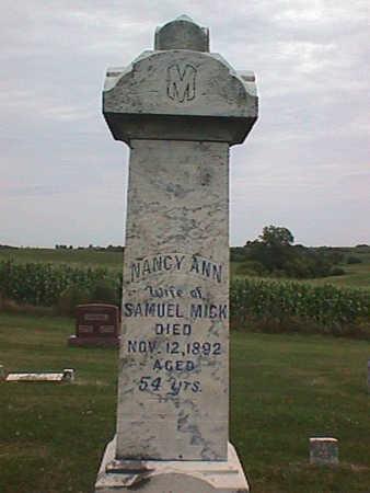 MICK, NANCY ANN - Jasper County, Iowa   NANCY ANN MICK