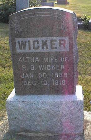 PULVER WICKER, ALTHA - Jasper County, Iowa | ALTHA PULVER WICKER