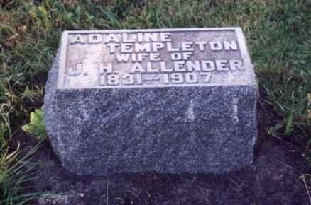 ALLENDER, ADALINE TEMPLETON - Jefferson County, Iowa   ADALINE TEMPLETON ALLENDER
